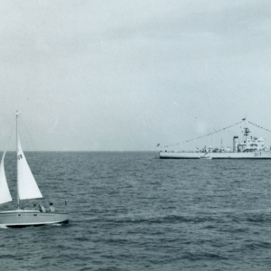 HMCS Cap de la Madeleine, dressed ship, Spithead, England, Victoria Day, May 18, 1964.