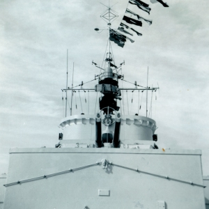 HMCS La Hulloise, dressed ship, Spithead, England, Victoria Day, May 18, 1964.