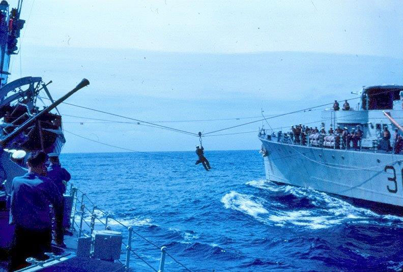Jackstay transfer at sea, July/August, 1962. Photo by William Thomas, U-794.